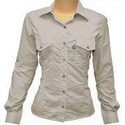 Camisa de Pesca Feminina Mtk Wind com Proteção Solar Filtro UV Cor Areia