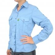 Camisa de Pesca Feminina Mtk Wind com Proteção Solar Filtro UV Cor Azul