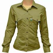 Camisa de Pesca Feminina Mtk Wind com Proteção Solar Filtro UV Cor Caqui