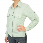 Camisa de Pesca Feminina Mtk Wind com Proteção Solar Filtro UV Cor Verde Claro