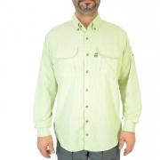 Camisa de Pesca Masculina Mtk Wind com Proteção Solar Filtro UV Cor Verde Claro