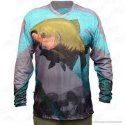 Camiseta de Pesca Mtk Attack com Proteção Solar Filtro UV Cor Tambaqui