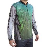 Camiseta de Pesca MTK Attack com Proteção Solar Filtro UV Cor Tucunaré