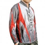 Camiseta Infantil de Pesca MTK Attack com Proteção Solar Filtro UV Cor Tribal
