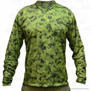 Camiseta de Pesca Mtk Attack com Proteção Solar Filtro UV Cor Verde Camuflado