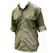 Camisa de Pesca MTK Sky Com Proteção Solar Cor Caqui Manga Longa Tamanho GG