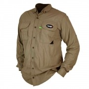Camisa de Pesca MTK Sky com Proteção Solar e Manga Longa Cor Caqui