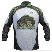 Camiseta de Pesca Shirts Black Bass Branca Faca na Rede Extreme Dry 2 com Fator de Proteção Solar UV 50 Tamanho G
