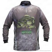 Camiseta de Pesca Shirts Black Bass Escura Faca na Rede Extreme Dry 2 com Fator de Proteção Solar UV 50 Tamanho P