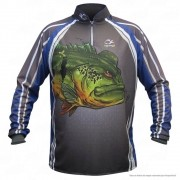 Camiseta de Pesca Shirts Tucunaré Azul Faca na Rede Extreme Dry 2 com Fator de Proteção Solar UV 50 Tamanho XG