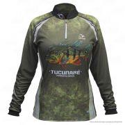 Camiseta de Pesca Shirts Tucunaré Feminina Faca na Rede Extreme Dry 2 com Fator de Proteção Solar UV 50 Tamanho GG