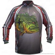 Camiseta de Pesca Shirts Tucunaré Vermelha Faca na Rede Extreme Dry 2 com Fator de Proteção Solar UV 50 Tamanho XG