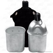 Cantil em Alumínio com Capa Preta e Copo com Alça Dobravel 900ml Echolife