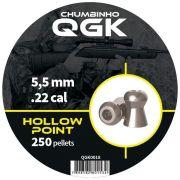 Chumbinho QGK Hollow Point 5,5 mm c/ 250 unidades