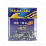 Garatéia 06 Kenzaki 4x Aço Carbono Triple Hook Cartela com 10 unidades