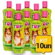 Kit 10un Shampoo Neutro para Cães e Gatos Filhotes e Adultos Top Vet Formula Suave 500ml