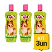 Kit 3un Shampoo Neutro para Cães e Gatos Filhotes e Adultos Top Vet Formula Suave 500ml