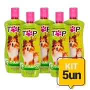 Kit 5un Shampoo Neutro para Cães e Gatos Filhotes e Adultos Top Vet Formula Suave 500ml