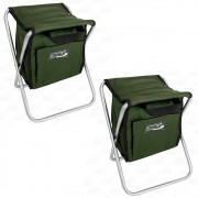 Kit Banqueta Com Bolsa 13L Dobrável para Pesca e Camping Jogá Cor Verde em Aço Suporta até 105 kg 2un