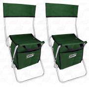 Kit Cadeira Com Bolsa 13 L Térmica Dobrável para Pesca e Camping Jogá Cor Verde em Aço Suporta até 105 kg 2un