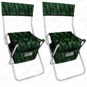 Kit Cadeira Com Bolsa Dobrável para Pesca e Camping Jogá Cor Camuflado em Aço Suporta até 105 kg 2un