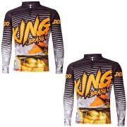 Kit Camisetas de Pesca King Brasil Viking Desenho Dourado 2un Pai e Filho