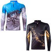 Kit Camisetas de Pesca King Brasil Viking Desenho Tucunaré 2un
