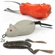Kit de Iscas para Traíra com 4 unidades Bad Line Popper, Bad Line Rat e X-Frog Monster 3x