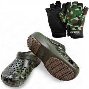 Kit de Pesca Luva Meio dedo com Proteção Solar Albatroz + Sandália Babuch BRK Fihing cor Camuflado