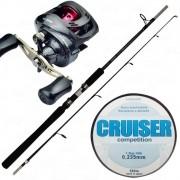 Kit de Pesca Marine Sports Carretilha 3 Rolamentos Vara 25lb + Linha Japonesa