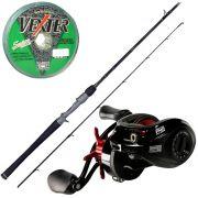 Kit de Pesca Marine Sports Carretilha Saga 8000 + Vara Brisa 25lb 1,68m Ação Média + Linha Multifilamento 25lb