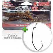 Kit Isca Soft Monster 3x X-Swim 9cm Cor Coca-Cola 001 com Anzol Owner Offset Down 2/0 Para Traíras e Tucunarés