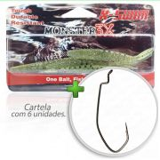 Kit Isca Soft Monster 3x X-Swim 9cm Cor Musgo 007 com Anzol Owner Offset Down 2/0 Para Traíras e Tucunarés