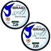 Kit Linha de Pesca Daiwa J-Braid x4 Multifilamento 4 Fios Trançados Dark Green 0,19mm 15lb 270m 2un
