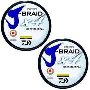 Kit Linha de Pesca Daiwa J-Braid x4 Multifilamento 4 Fios Trançados Yellow 0,21mm 20lb 135m 2un