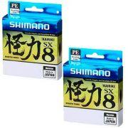 Kit Linha de Pesca Shimano Kairiki PE Multifilamento 8 Fios Trançados Verde 0,16mm 15lb 300m 2un