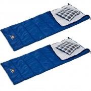 Kit Saco de Dormir com Travesseiro Guepardo Sigma Cor Azul 2un