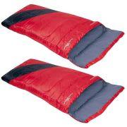 Kit Saco de Dormir Liberty Nautika 4ºC a 10ºC Individual 2un Cor Vermelho e Preto