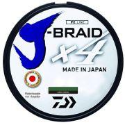 Linha de Pesca Daiwa J-Braid x4 Multifilamento 4 Fios Trançados Dark Green 0,19mm 15lb 135m