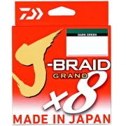 Linha de Pesca Multifilamento J-Braid Grand x8 Daiwa 8 Fios 0,23mm 20lb 135m Dark Green