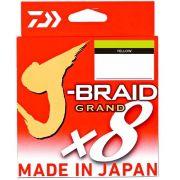 Linha de Pesca Multifilamento J-Braid Grand x8 Daiwa 8 Fios 0,23mm 20lb 135m Yellow