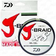 Linha de Pesca Multifilamento J-Braid x8 Daiwa 8 Fios Trançados 0,15mm 10lb 300m