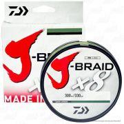 Linha de Pesca Multifilamento J-Braid x8 Daiwa 8 Fios Trançados 0,23mm 20lb 300m