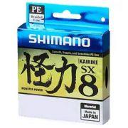 Linha de Pesca Shimano Kairiki PE Multifilamento 8 Fios Trançados Verde 0,16mm 15lb 300m