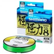 Linha de Pesca Shimano Kairiki PE Multifilamento 8 Fios Trançados Verde 0,315mm 50lb 150m