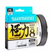 Linha de Pesca Shimano Kairiki PL PE Multifilamento 8 Fios Trançados Cinza 0,350mm 60lb 150m