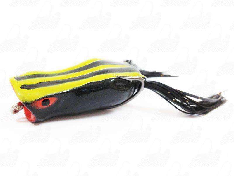 Isca Marine Sports Art Popper Frog Sapinho Cor 187 Preto Traços Amarelos