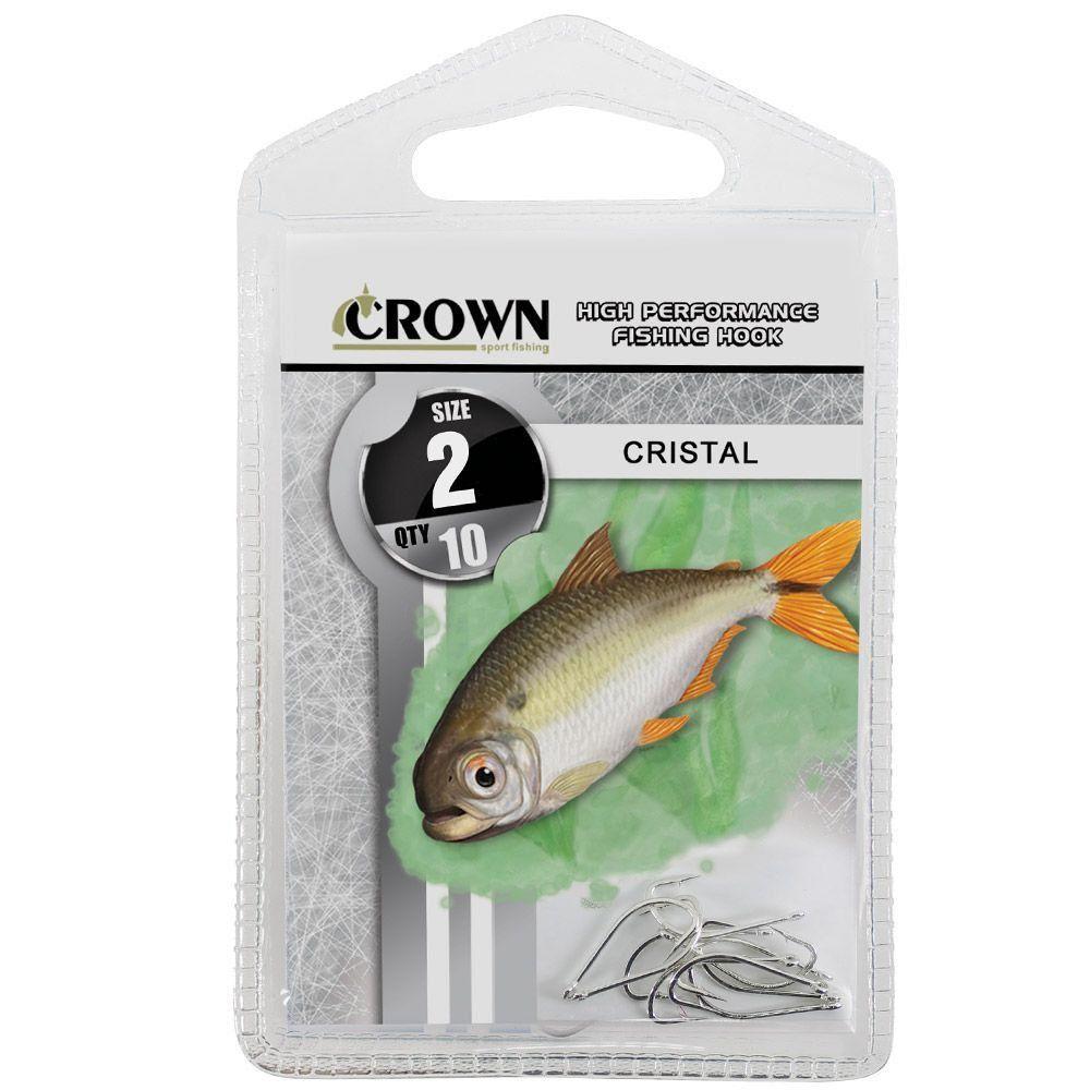 Anzol Crown Cristal para Lambaris e Saicangas Niquel Prata Número 02 Cartela com 10 Unidades