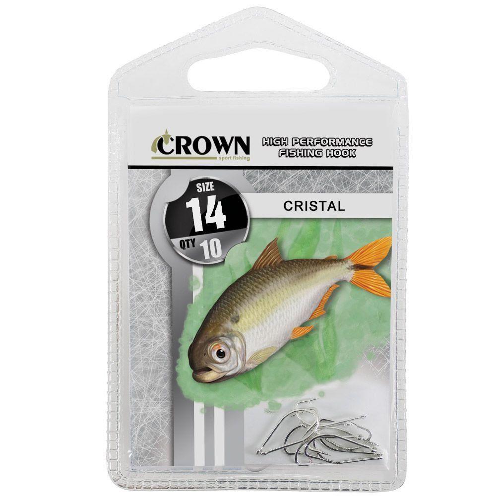 Anzol Crown Cristal para Lambaris e Saicangas Niquel Prata Número 14 Cartela com 10 Unidades