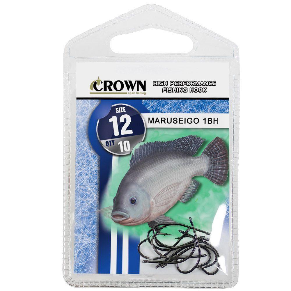 Anzol Crown Maruseigo para Tilápia 1-BH Black Preto Número 12 Cartela com 10 Unidades
